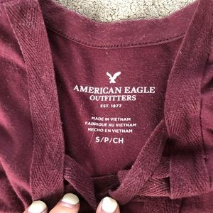American Eagle Outfitters Tops - AE Tank With V-Neck Accent Burgundy